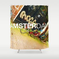 bikes Shower Curtains featuring Amsterdam Bikes  by Cristhian Arias-Romero