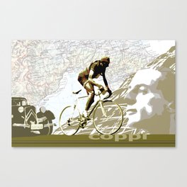 Tour De France Legend Cyclist Fausto Coppi with Map and Portrait Canvas Print