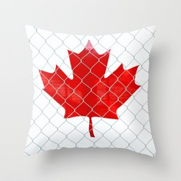 Rustic Canada Flag behind Chain Link Fence Throw Pillow