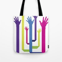 hands Tote Bags featuring Hands by Sitchko Igor