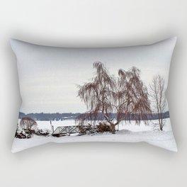 Weeping Willow on the Frozen Lake Rectangular Pillow