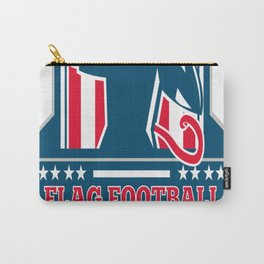 Flag Football QB Player Passing Ball Crest Retro Carry-All Pouch
