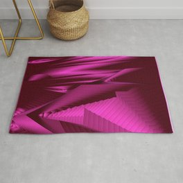 Diffuse landscap with stylised mountains, sea and pink Sun. Rug