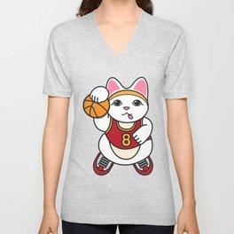 Dunking Cat Unisex V-Neck