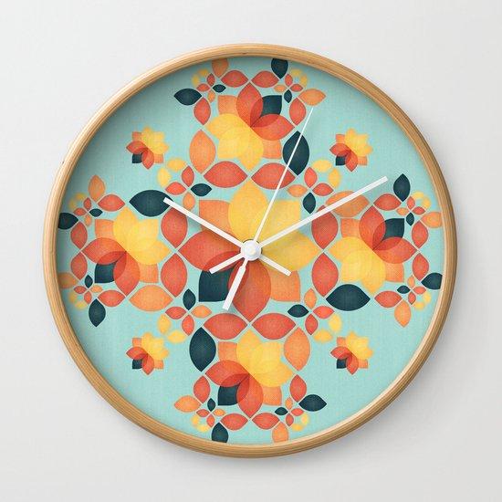 Orange Garden Pattern Wall Clock