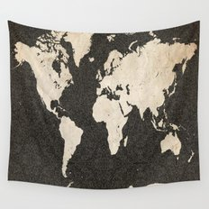 World Map - Ink lines Wall Tapestry
