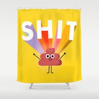 shit Shower Curtains featuring SHIT! by Mauro Gatti