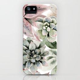 Circular Succulent Watercolor iPhone Case