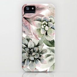 Circular Succulent Watercolor iPhone Case