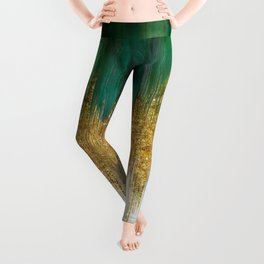 Green and gold motion abstract Leggings
