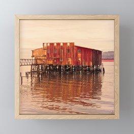Old Red Net Shed, Building on Pier, Columbia River, Astoria Oregon Framed Mini Art Print