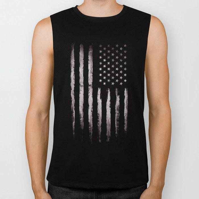 White Grunge American flag Biker Tank