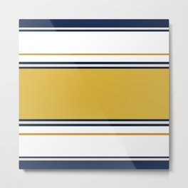 Wide and Thin Stripes Color Block Pattern in Mustard Yellow, Navy Blue, Champagne, and White Metal Print