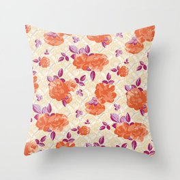 Ditsy Floral (Orange) Throw Pillow