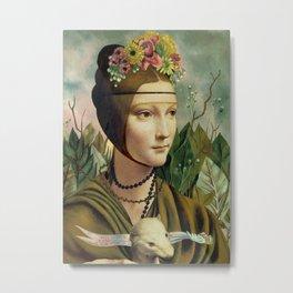 F.K.'s Self Portrait & Leonardo's Lady with a Ermine Metal Print