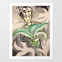 harlequin with lily Art Print