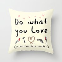 motivational Throw Pillows featuring Motivational Poster by Sophie Corrigan