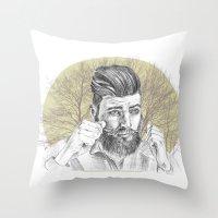 beard Throw Pillows featuring beard by mirart