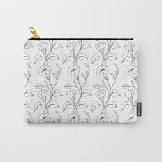 Floral Drawing in black and white Carry-All Pouch