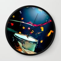 drums Wall Clocks featuring drums by petervirth photography