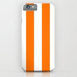 Bright Tumeric Orange and White Wide Vertical Cabana Tent Stripe iPhone Case