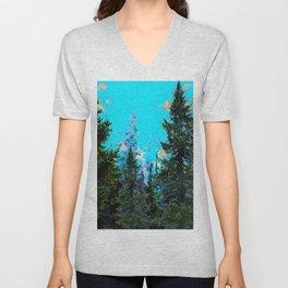 WESTERN PINE TREES LANDSCAPE IN BLUE Unisex V-Neck