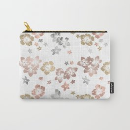 Rose Gold Copper Bronze Tropical Flowers Multi Metallic Carry-All Pouch