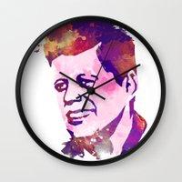 jfk Wall Clocks featuring kennedy JFK by BIG Colours