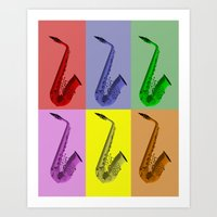 Collage Of Colorful Saxophones Art Print