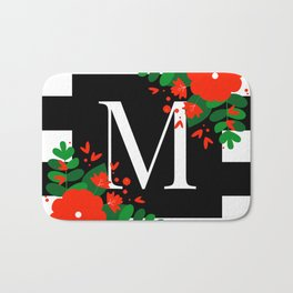 M - Monogram Black and White with Red Flowers Bath Mat