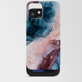 Pastel Plum, Deep Blue, Blush and Gold Abstract Painting iPhone Card Case