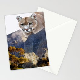 Mountain lion and mountains Stationery Cards