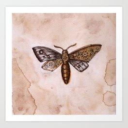 Moth with cogs Art Print