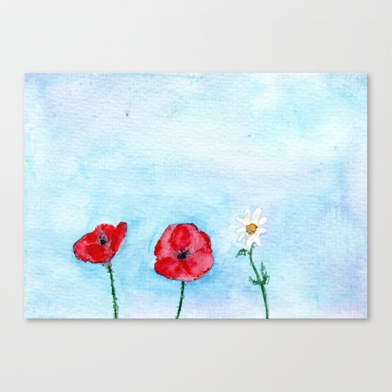 Two poppies and a daisy || watercolor Canvas Print