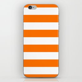 Bright Tumeric Orange and White Wide Horizontal Cabana Tent Stripe iPhone Skin