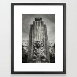 Vancouver Raincity Series - Lion at the Gate - Black and White Framed Art Print