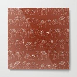Linocut Camels No. 2 in Rust Metal Print