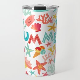 Summer seamless pattern with ice-cream, suglases, cocktail,  starfish, coral, flip flop sandals. Vac Travel Mug