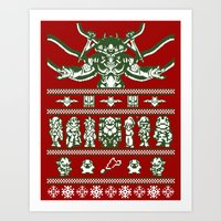 chrono trigger Art Prints featuring Chrono Christmas Sweate by Legendary Phoenix