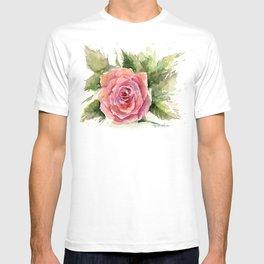 Red Rose Watercolor Pink Rose Flower Floral Art T-shirt