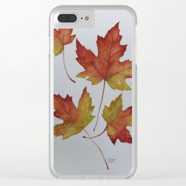 Woodward Red Leaves Clear iPhone Case