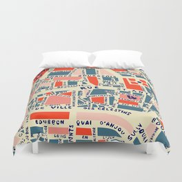 paris map blue Duvet Cover