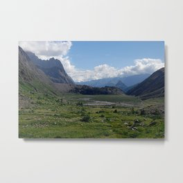 Alpine Valley Meadow Alps Mountains Landscape Metal Print