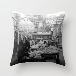 """Valparaiso Chile: Waterfront district showing """"ascensors"""" up to top of bluff. June, 1941. Throw Pillow"""