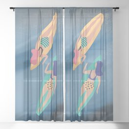 Surf Sisters - Muted Ocean Color Girl Power Sheer Curtain