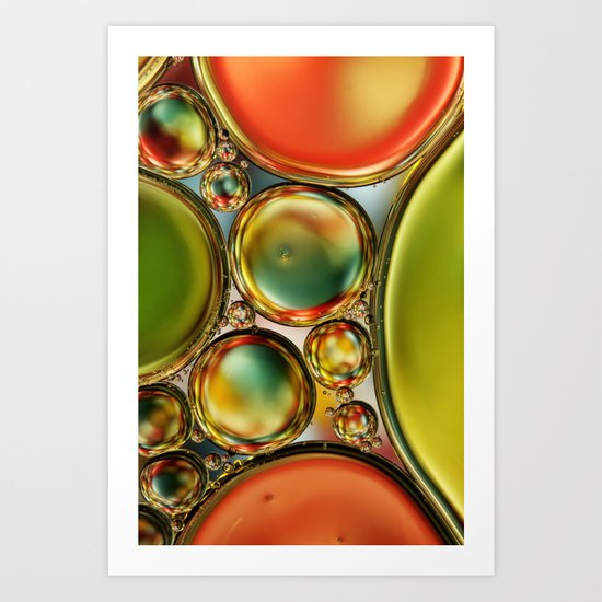 Bubble Abstract with Orange & Lime Art Print