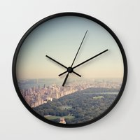 central park Wall Clocks featuring Central Park by Thomas Richter