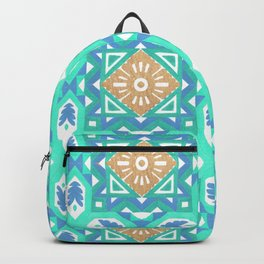 Abstract aqua blue watercolor faux gold glitter motif Backpack