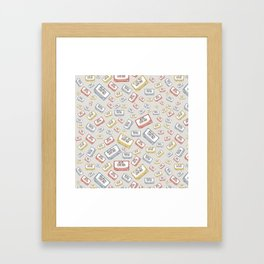 Primary Mixtapes on Neutral Grey Framed Art Print