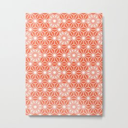 Japanese Asanoha or Star Pattern, Pastel Coral and White Metal Print